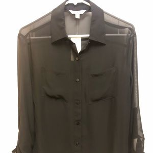 Decree 3/4 Sleeve Sheer Black Button-Up Blouse